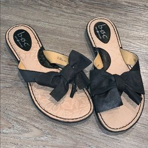 Born black bow tie thong sandals